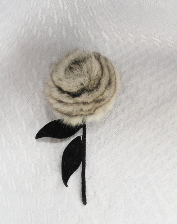 1960's Vintage Chinchilla Fur Flower Pin by MyVintageHatShop