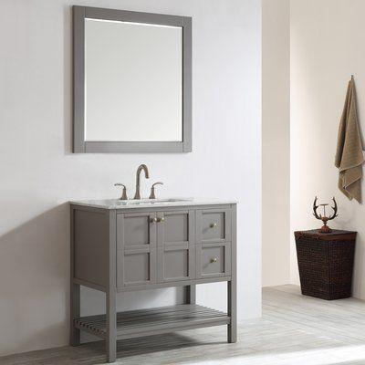 beachcrest home caldwell 36 single vanity set with mirror base rh pinterest com