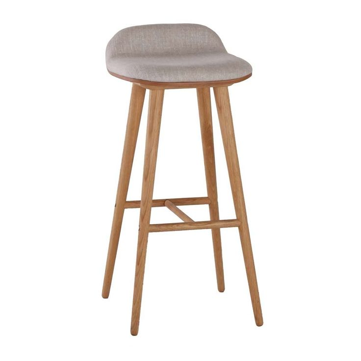Browse Contemporary Bar Stools Online or Visit Our Showrooms To Get Inspired With The Latest Bar Stools From Life Interiors - Capa Fabric Bar Stool (Oak, Light Grey)
