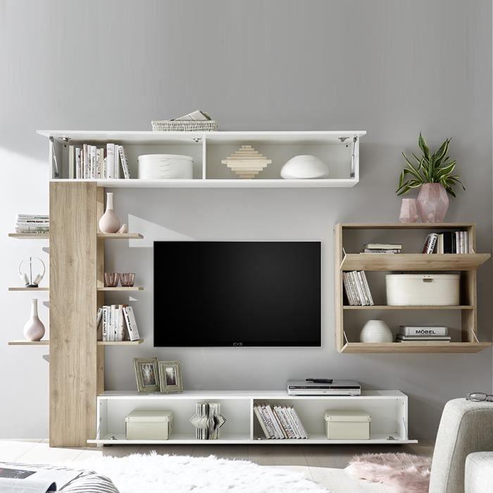 Ensemble Meubles Tv Blanc Et Gris Design Fino 2 Gris L 257 X P 30 X H 187 Cm En 2020 Meuble Tv Blanc Ensemble Meuble Tv Mobilier De Salon