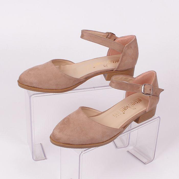 b88559fc168 Дамски #летни #обувки, изработени от еко-#велур в бежов цвят, със ...