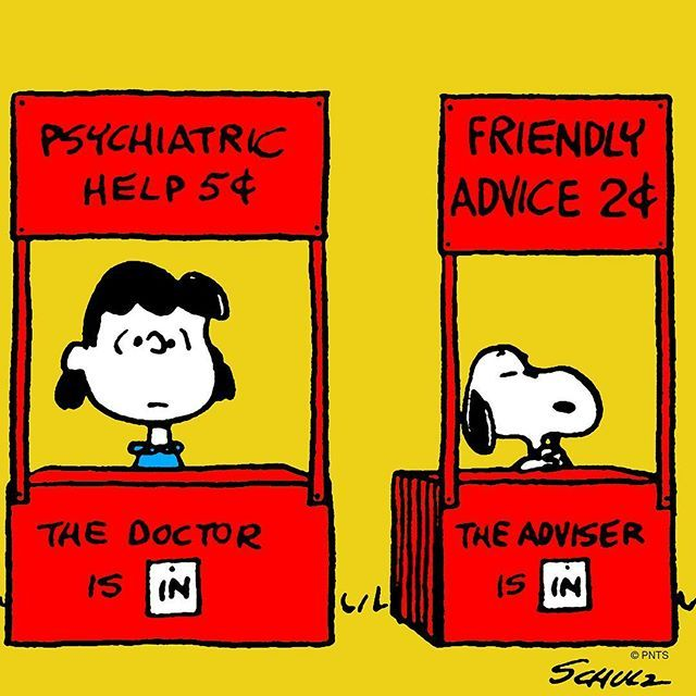 "Snoopy And The Peanuts Gang on Instagram: ""Friendly advice sold here."""