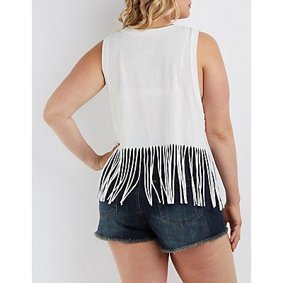 Fringed Graphic Tank Top