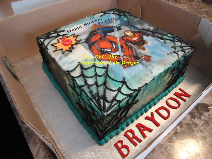 Spiderman Cake with edible image, covered in buttercream, multi color  Like, Share & follow my page on Facebook (Gail Decaire Professional Cake Designs)
