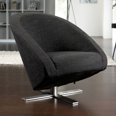 Click to zoom - Cross base swivelling armchair charcoal