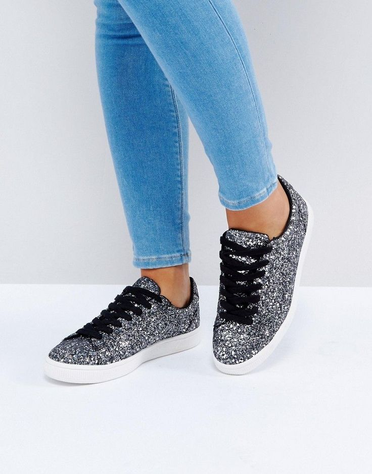 New Look Glitter Lace Up Sneaker - Black