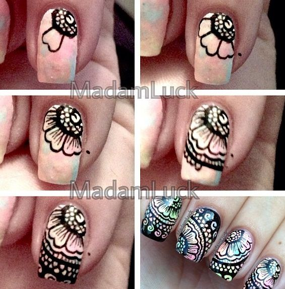 Floral Lace Nail Tutorial Mallory's tip: use the pastel galaxy tutorial for the base and a nail art pen in black