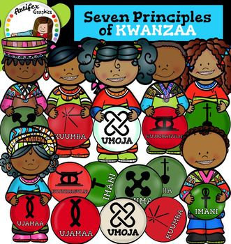 Seven Principles of KWANZAA clip art set features 28 items: 14 graphics in color. (7 kids) 14 graphics in black & white. (7 kids)All images are 300 dpi, Png files.This clipart license allows for personal, educational, and commercial small business use.