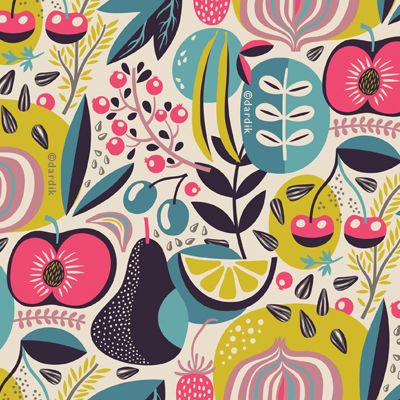 Delicious summer pattern by Helen Dardik | fruits in bold colors: turquoise, magenta and lime green | orange you lucky!