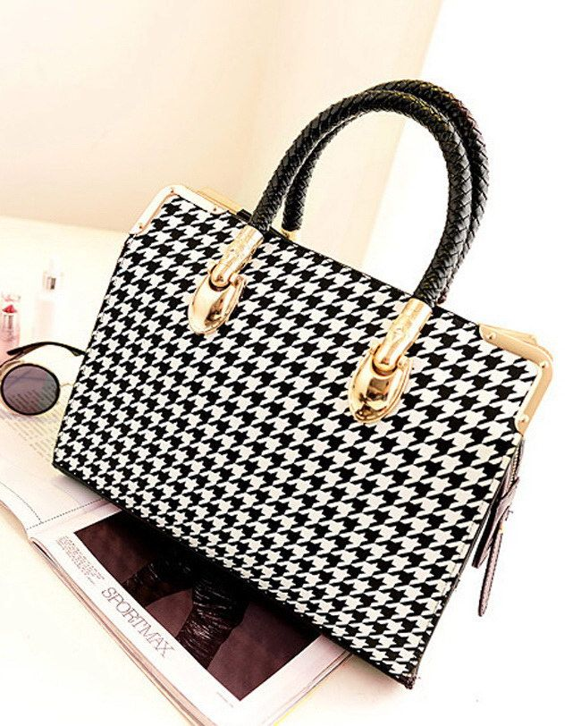 Stylish Houndstooth and Metallic Design Women's Tote Bag Only $18.38 | TrendsGal.com
