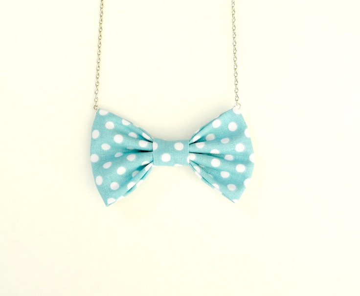 Retro Polka Dot Light Blue - Bow Tie Necklace. Love love love these necklaces!