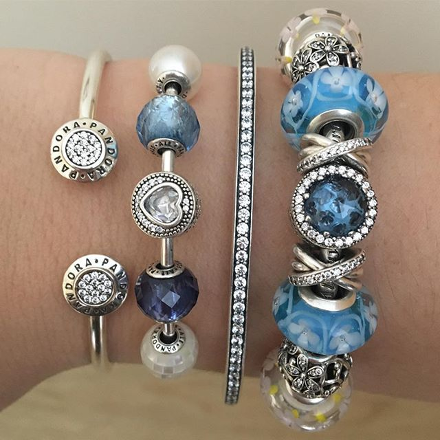 What a lovely wrist stack! Create your own at www.BeCharming.com - authentic PANDORA online retailer.