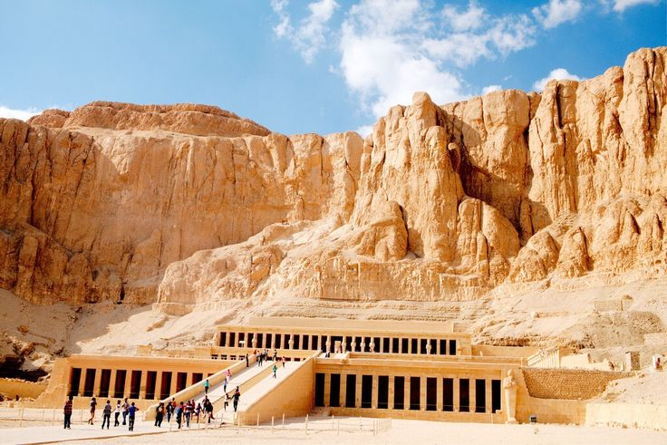 """Hatshepsut's temple at Deir el-Bahari (الدير البحري, """"Monastery of the Sea""""), a complex of temples and tombs on the west bank of the Nile, across from Luxor. It's part of the Theban Necropolis. The..."""
