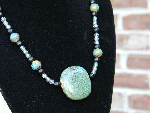 Copper ore pendant necklace