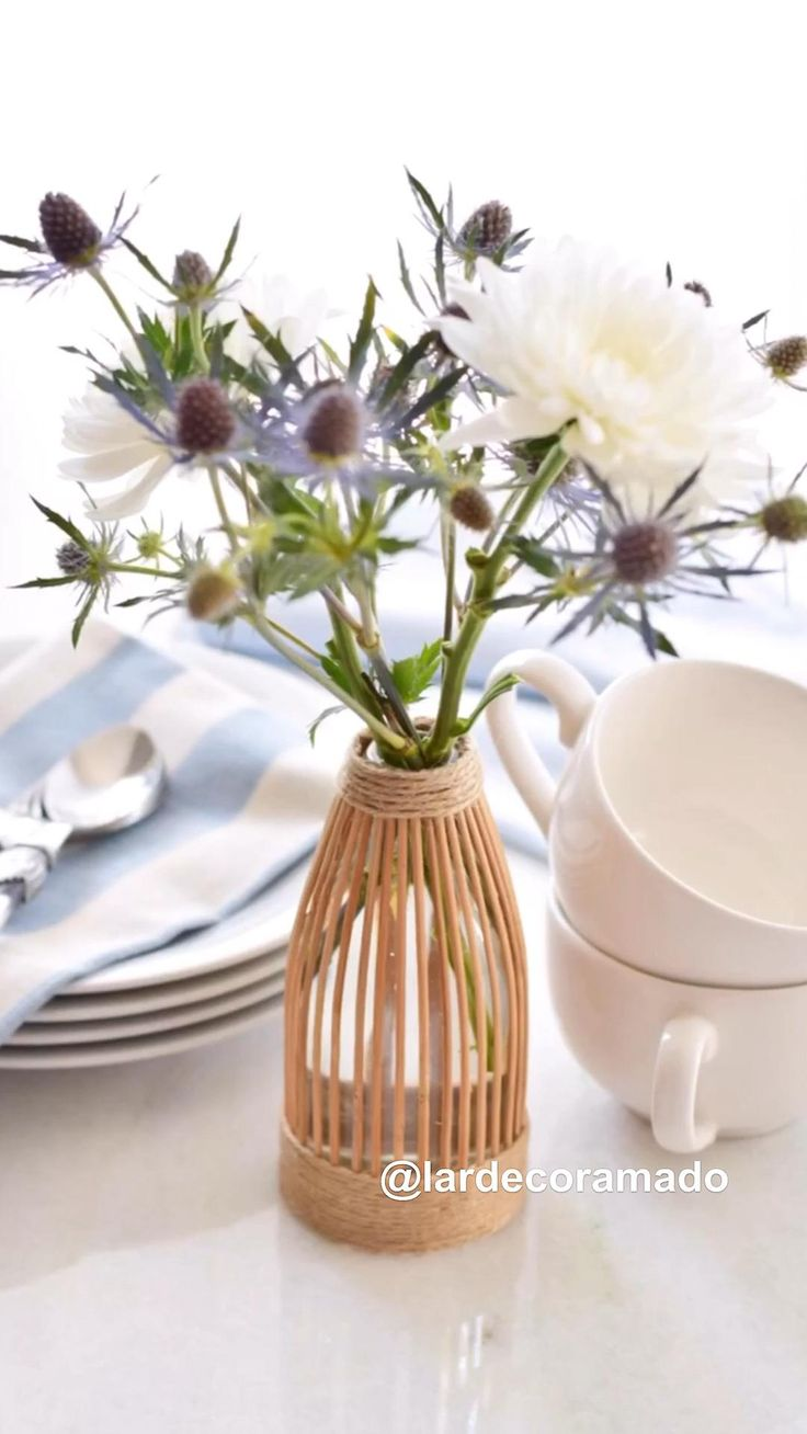 Diy Wedding Decorations, Bottle Crafts, Sisal, Recycling, Vase, Canning, Home Decor, Home Craft Ideas, Stone Crafts