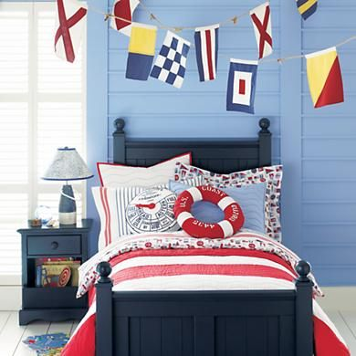 Kids' Banners & Hanging Décor: Kids Nautical Flag Banner in Hanging DécorKids Beds, Blue Wall, Nautical Bedrooms, Boys Bedrooms, Big Boys, Kids Room, Nautical Theme, Boys Room, Nautical Room