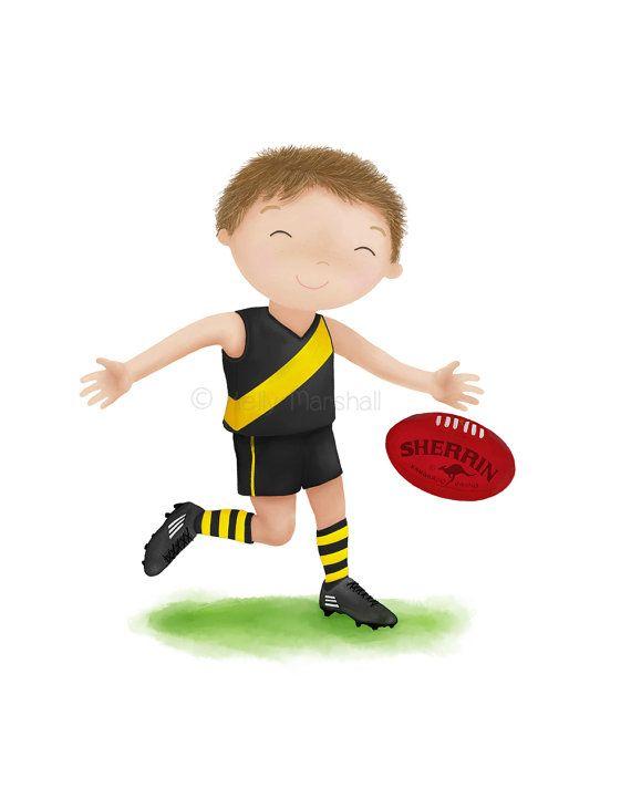 AFL Print  Australian Football Childrens Art  by SweetCheeksImages