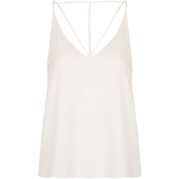 TopShop Tall Strappy Plunge Cami Top ($29) ❤ liked on Polyvore featuring tops, tank tops, topshop, cream, v neck tank, white tank top, white camisole, white v neck tank and white tank