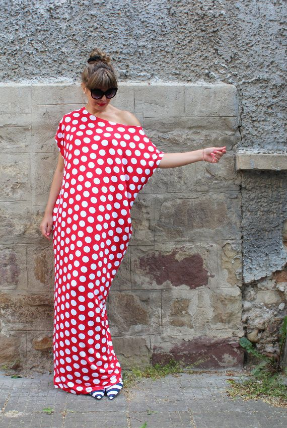 Red and white polka dots caftan dress maxi by cherryblossomsdress