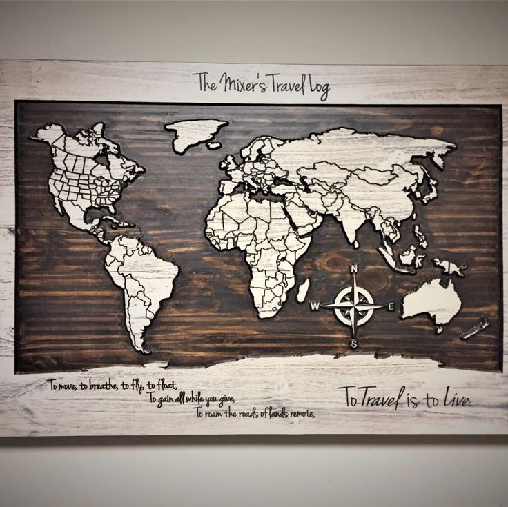 Carved wooden world map wood wall art