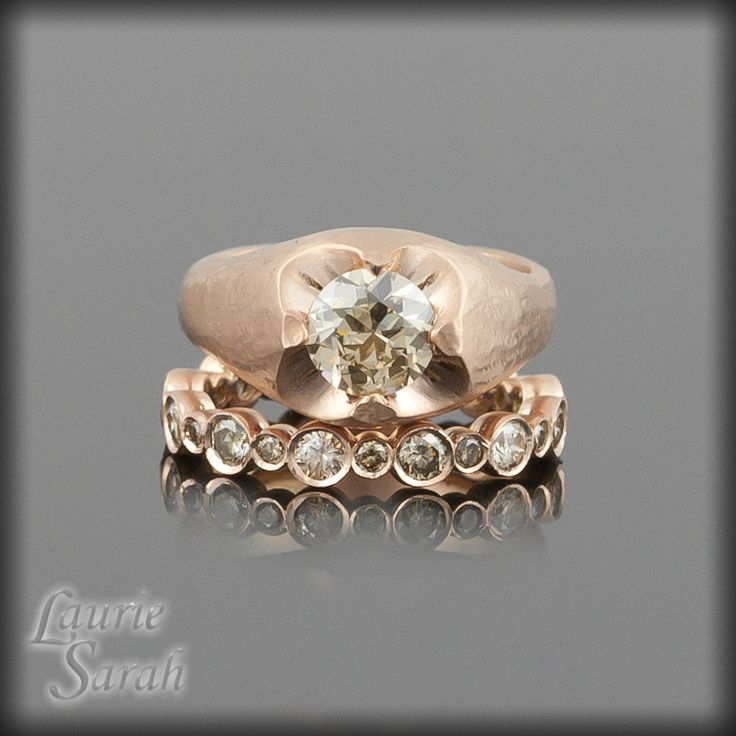 Avant Garde 1 Ct Rose Gold Champagne Diamond Engagement Ring With Matching Wedding Band