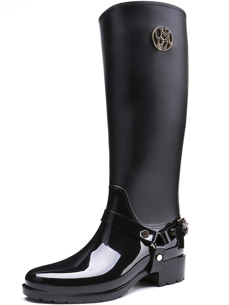 TONGPU Hot Selling Eco-PVC Knee-High Zipper Closure Classic Slim Design Women's Rain Boots 25-160 - http://bootsportal.net/?product=tongpu-hot-selling-eco-pvc-knee-high-zipper-closure-classic-slim-design-women-s-rain-boots-25-160