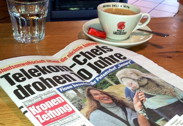 petit déjeuner in #österreich  - #brauner mit der Kronen Zeitung #frühstück #breakfast #Kaffee #coffee