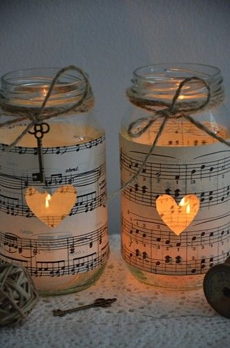 10 x Handmade Vintage Sheet Music Wedding Glass Jars Brand New Rustic CandleVase