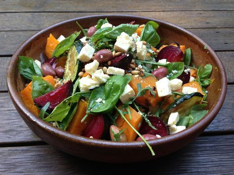 Pumpkin, Beetroot, Feta, Rocket and Pine Nut Salad http://www.looksgoodtastesgood.com/home/2016/4/12/pumpkin-beetroot-feta-rocket-and-pine-nut-salad Amanda Keats