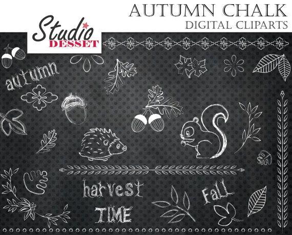 Chalkboard Autumn Cliparts Hedgehog Squirrel Acorn by StudioDesset
