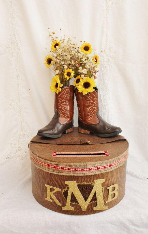 Rustic Wedding Card Box, Sunflower Wedding Card Holder, Rustic Wedding Decor, Country Bridal Shower Card Box, Craft Show Display Raffle Box