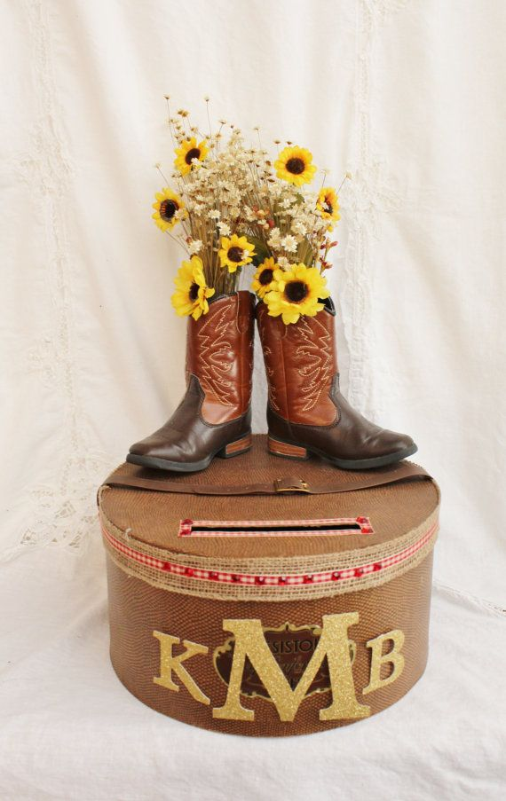 Rustic Wedding Card Box, Sunflower Wedding Card Holder, Rustic Wedding Decor, Country Bridal Shower Card Box, Craft Show Display Raffle Box