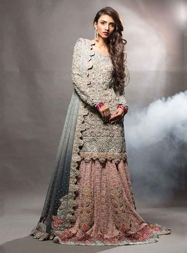 6043793fd3 Grey and pink kurti with lehenga for engagement brides   Bridal in ...