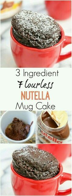 Ingredients:  1/4 cup Nutella 1 large egg 1/2 tbsp dutch processed cocoa powder  Cook in mircowave for 1 min 10 secs
