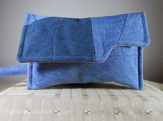 Clutch Upcycled Denim Crazy Quilt Patchwork by MaDGreenCreations, $15.95