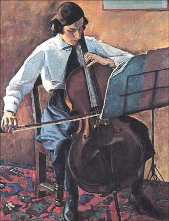 Historic cellist painting | His best known works are a series combining nudes and landscapes.
