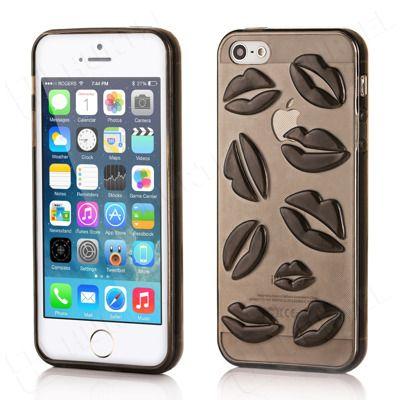 Etui i pokrowce   Żelowe etui iPhone 5 5S usta czarne   EKLIK - Sklep GSM, Akcesoria na tablet i telefon