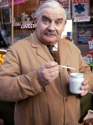 Open All Hours. Albert Arkwright (Ronnie Barker). Image credit: British Broadcasting Corporation.