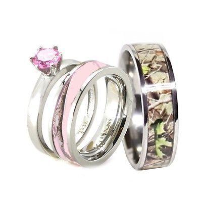 Spectacular HIS u HER Pink Camo Band Engagement Wedding Ring Set Titanium u Stainless Steel