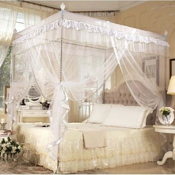 White Princess Bed Canopy Mosquito Netting And Bed Frame Post Twin Full Queen King Size In 2020 Girls Bed Canopy Princess Canopy Bed Bed