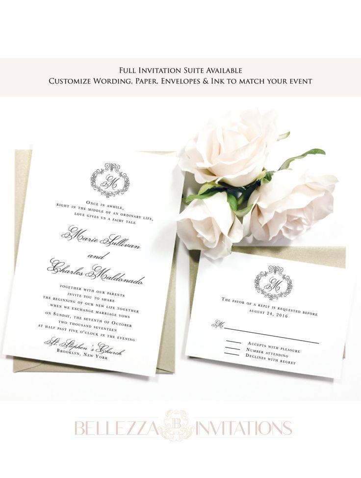 Elegant Black and White Wedding Invitations, Simple Elegant Wedding Invitations, Ivory Wedding Invitations, Classic  Wedding Invitations by BellezzaInvitations on Etsy