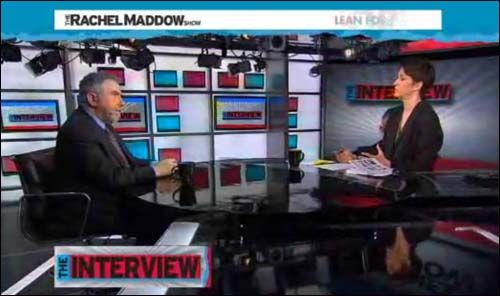 Maddow & Krugman Explain Link between Wealth Disparity & Economic Disaster    Paul Krugman spoke with Rachel Maddow about the direct correlation between expanding income inequality and the increasingly divisive political polarization present in the US. The wealth disparity between the rich and poor has been shown to greatly increase just prior to a severe economic crisis, as it did before the Great Depression; and the wealth gap in our country has never been as extreme as it is right now.