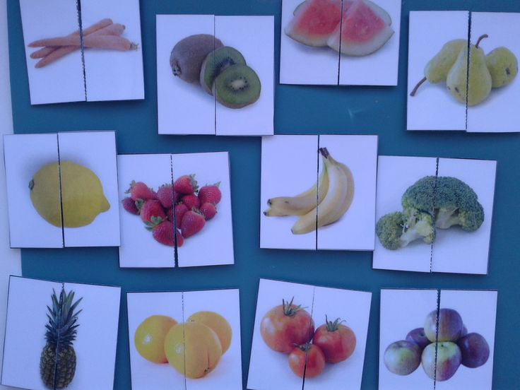 Matching Halves- Fruits & Vegetables, a great activity for young children as well as for students with #autism and special needs. For more resources follow https://www.pinterest.com/angelajuvic/autism-special-education-resources-angie-s-tpt-sto/