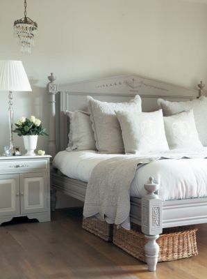 Grey bed frame n headboard. Like the idea of long thin baskets under bed for storage