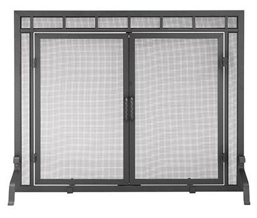 Black Sidelight Classic Flat Fireplace Screen with Doors - Adorn your hearth with the understated elegance of the Black Sidelight Classic Flat Fireplace Screen with Doors. This well-designed screen is a functi...