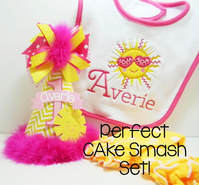 Personalized You are my Sunshine Party Cake Smash Set by DoodlesDotsnDimples, $38.97 USD