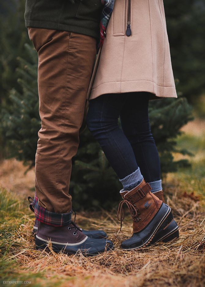 duck boots at a Christmas tree farm (cute idea for holiday card outfits or a winter couples engagement shoot!)