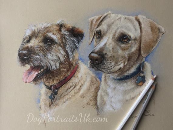 Portrait from Photo Double Pet Portrait Pet Art Two Dogs Painting