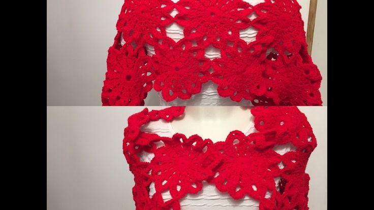 Tuto motif fleur pour étole, chemin de table, gilet  au crochet