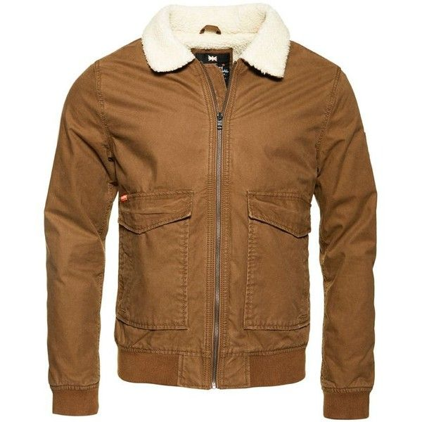 Superdry Rookie Winter Aviator Bomber Jacket (€96) ❤ liked on Polyvore featuring men's fashion, men's clothing, men's outerwear, men's jackets, men coats and jackets, mens bomber jacket, mens waterproof jacket, mens zipper jacket, mens zip jacket and superdry mens jackets
